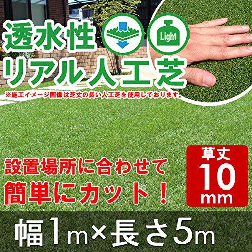 透水性リアル人工芝 ロールタイプ 幅1m×長5m 【草丈10mm】 B0721WN4K3 19800