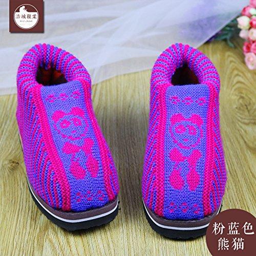 LaxBa Femmes Hommes chauds d'hiver Chaussons peluche antiglisse intérieur Cotton-Padded Slipper Chaussures bleu poudre (Panda), 40/41(Pour Code37~38)rose bleu (panda)40/41 (pour 37 ~ 38 mètres)