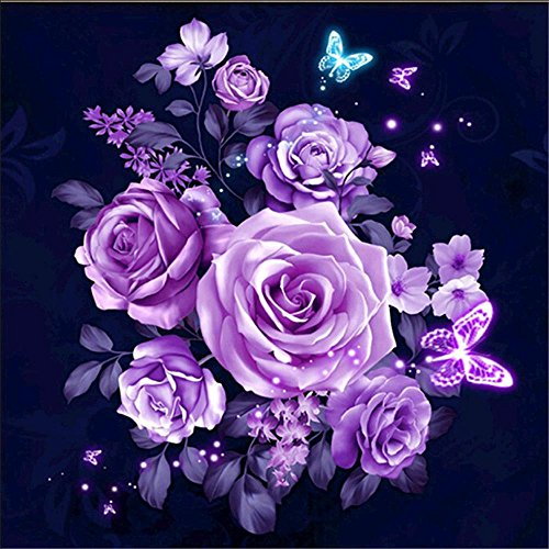 (DIY 5D Diamond Painting by Number Kits Full Drill Rhinestone Embroidery Cross Stitch Pictures Arts Craft for Home Wall Decor,Purple Flash Rose - 11.8x11.8 inches)