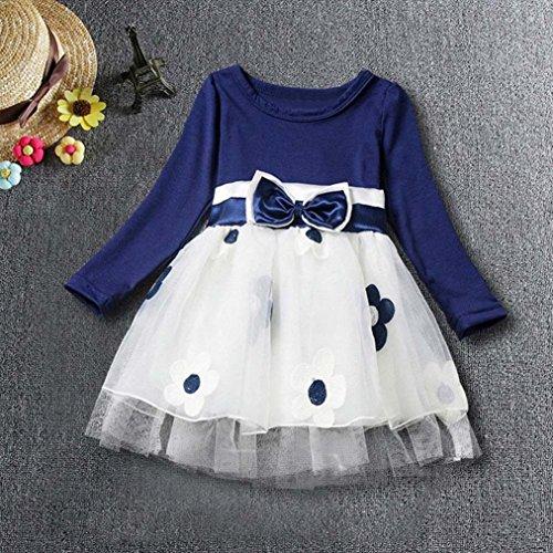 Amlaiworld baby Mädchen weich langarmshirt bowknot kleider Niedlich blumen druck tutu kleidung,6-24Monate Blau