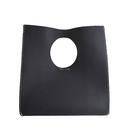 82ebc643e5 Hoxis Vintage Minimalist Style Soft Pu Leather Handbag Clutch Small Tote  (Black)