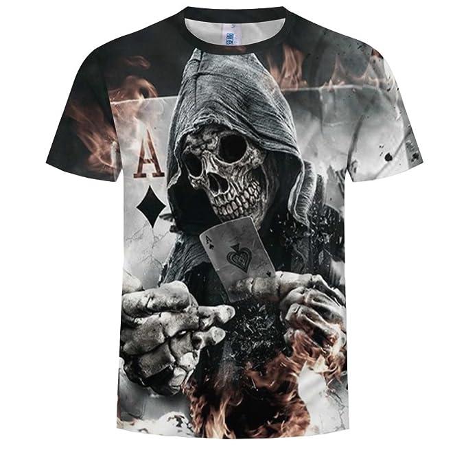 Hombres Manga Corta 3D Esqueleto Demonio Poker Impresa Cuello Redondo  Camiseta Verano OtoñO Casual PatróN Top Tees S-6XL bb6e928330506