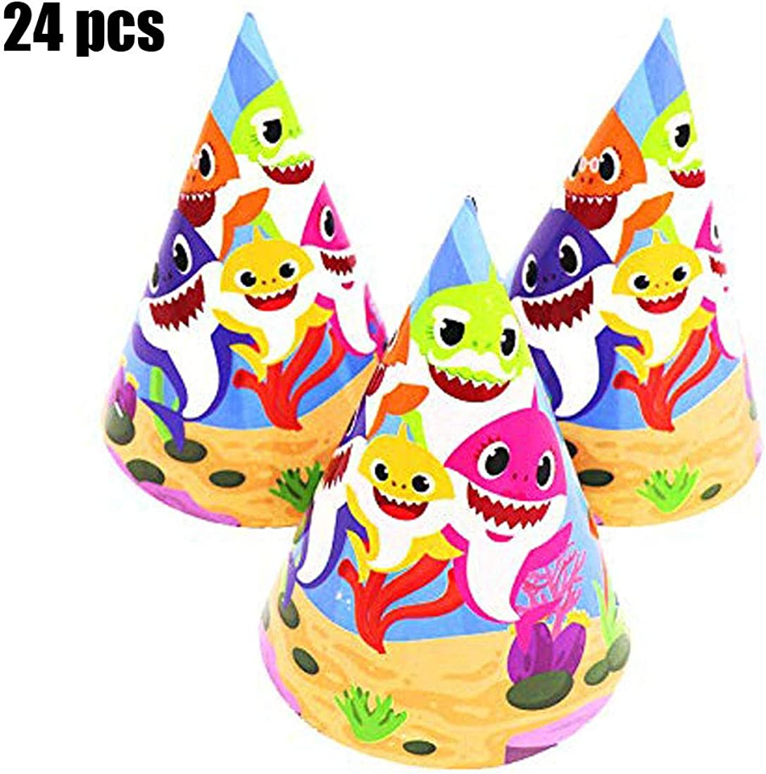 Baby Cute Shark Birthday Party Hats Shark Theme Party Supplies- Shark Family Baby Shower Birthday Party Decorations Yellow