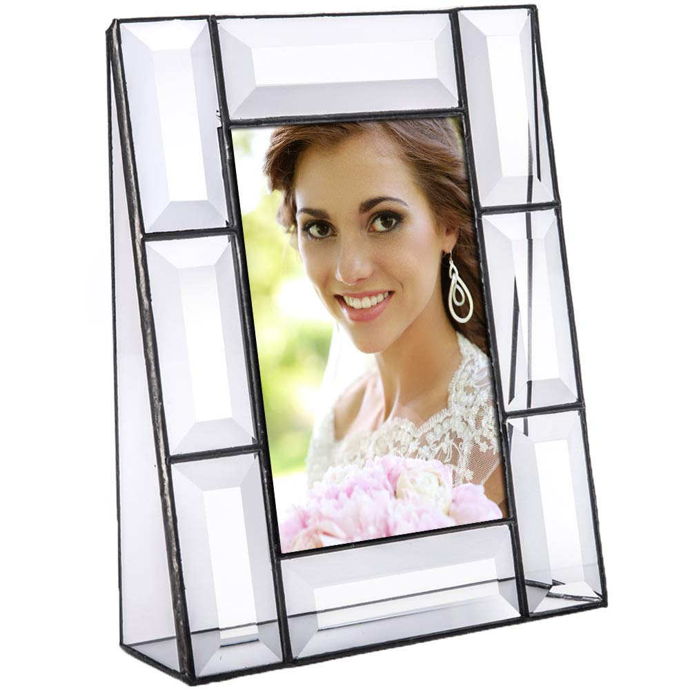 Clear Beveled Glass Picture Frame 4x6 Vertical Photo Display Desk Accessories Tabletop Home Décor Family Wedding Anniversary Engagement Graduation Gift J Devlin Pic 112 Series by J Devlin Glass Art
