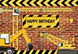 Funnytree 7X5FT Vinyl Construction Theme Birthday Party Backdrop Bricks Builder Dump Trucks Boy Banner Decorations Supplies Photography Background Photobooth props