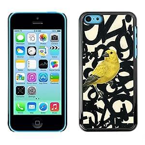 [Neutron-Star] Snap-on Series Teléfono Carcasa Funda Case Caso para iPhone 5C [Bird Letras Números texto Beige]