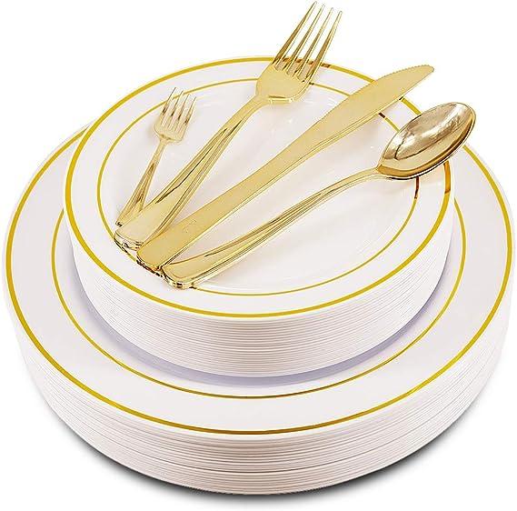 150PCS Disposable Gold Plastic Plates and Silverware Set - Bocca Disposable Plastic Plates and Cutlery Set, 25 Dinner Plates, 25 Salad Plates, 25 Forks, 25 Tasting Mini Forks, 25 Spoons, 25 Knives
