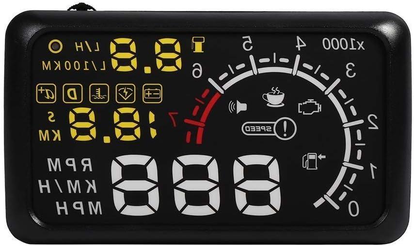 Visualizador coche Head Up Display HUD cabeza alta gráfico OBD2 de velocidad, nivel de combustible, cuenta Torre 14.8 * 8.5 cm (1 Rule incluido): Amazon.es: Coche y moto