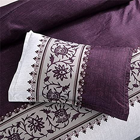 WINLIFE Home Decoration Bedding Set with 1x Duvet Cover 2X Pillow Shams King Purple