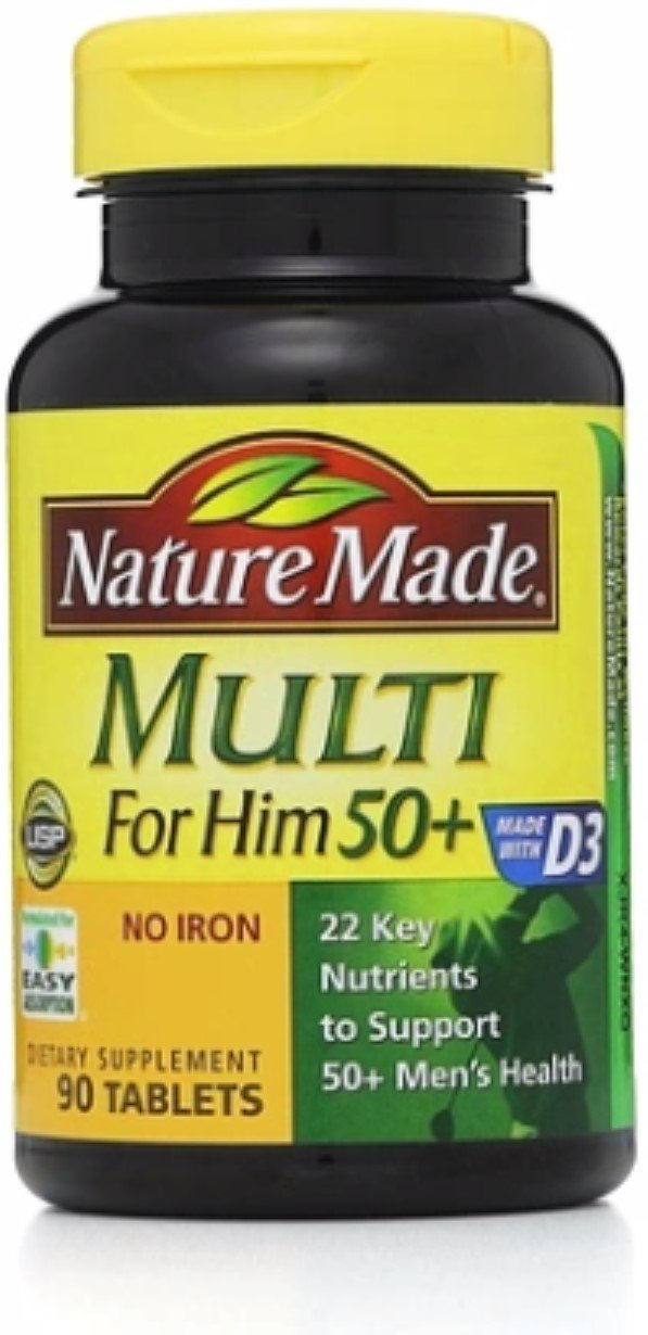 Nature Made Multi for Him 50+ Dietary Supplement Tablets 90 ea (Pack of 2)