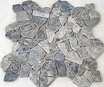 Fliesen Mosaik Mosaikfliesen Naturstein grau Boden Bad K/üche 4mm NEU #SN12