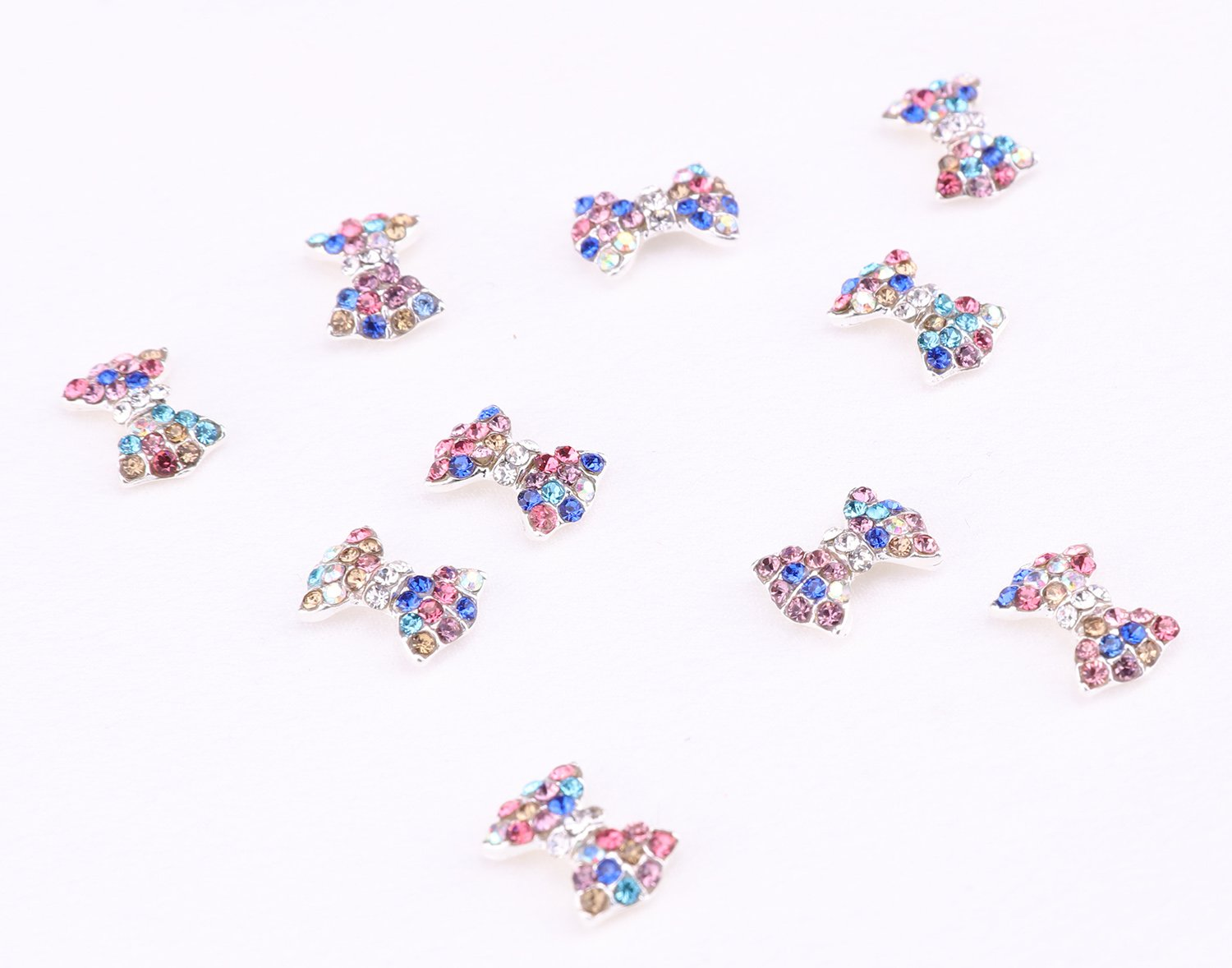 3D Nail Art Charms,Fashionclubs Glitter Bow Rhinestone Nail Art Sticker Decoration,Nail Tip Pendant Decal DIY Decoration,30-Pack by Fashionclubs