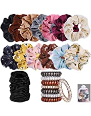 44Pcs 4 Types Hair Scrunchies Velvet Elastic Hair Bands, Chiffon Flower Hair ties, Spiral Hair Ties, Black Count Elastics Hair Ties for Ponytail Holder, Hair Styling Accessories for Ladies & Girls,One Set for whole year use.
