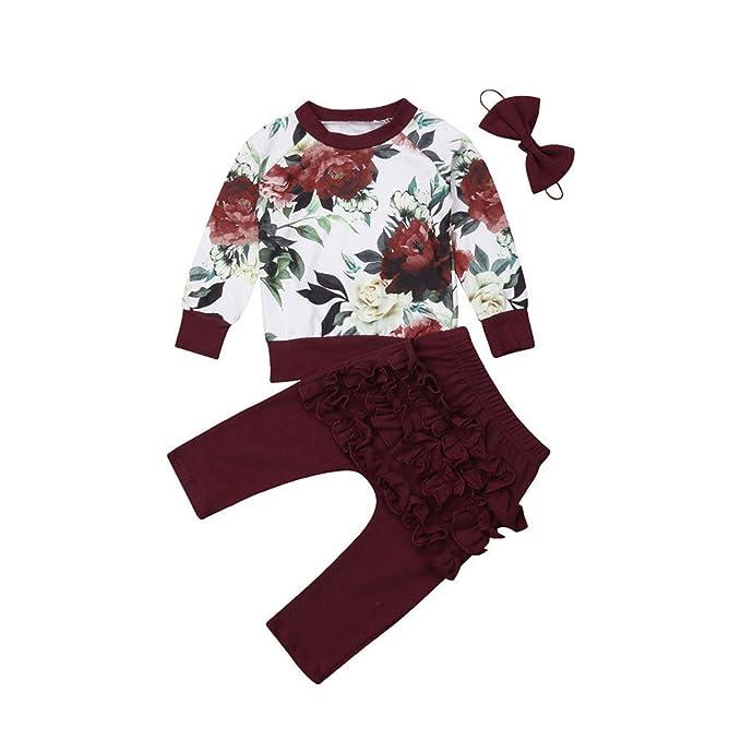 b9f011904 Amazon.com  3pcs Newborn Toddler Baby Boy Girl Floral Tops Long ...