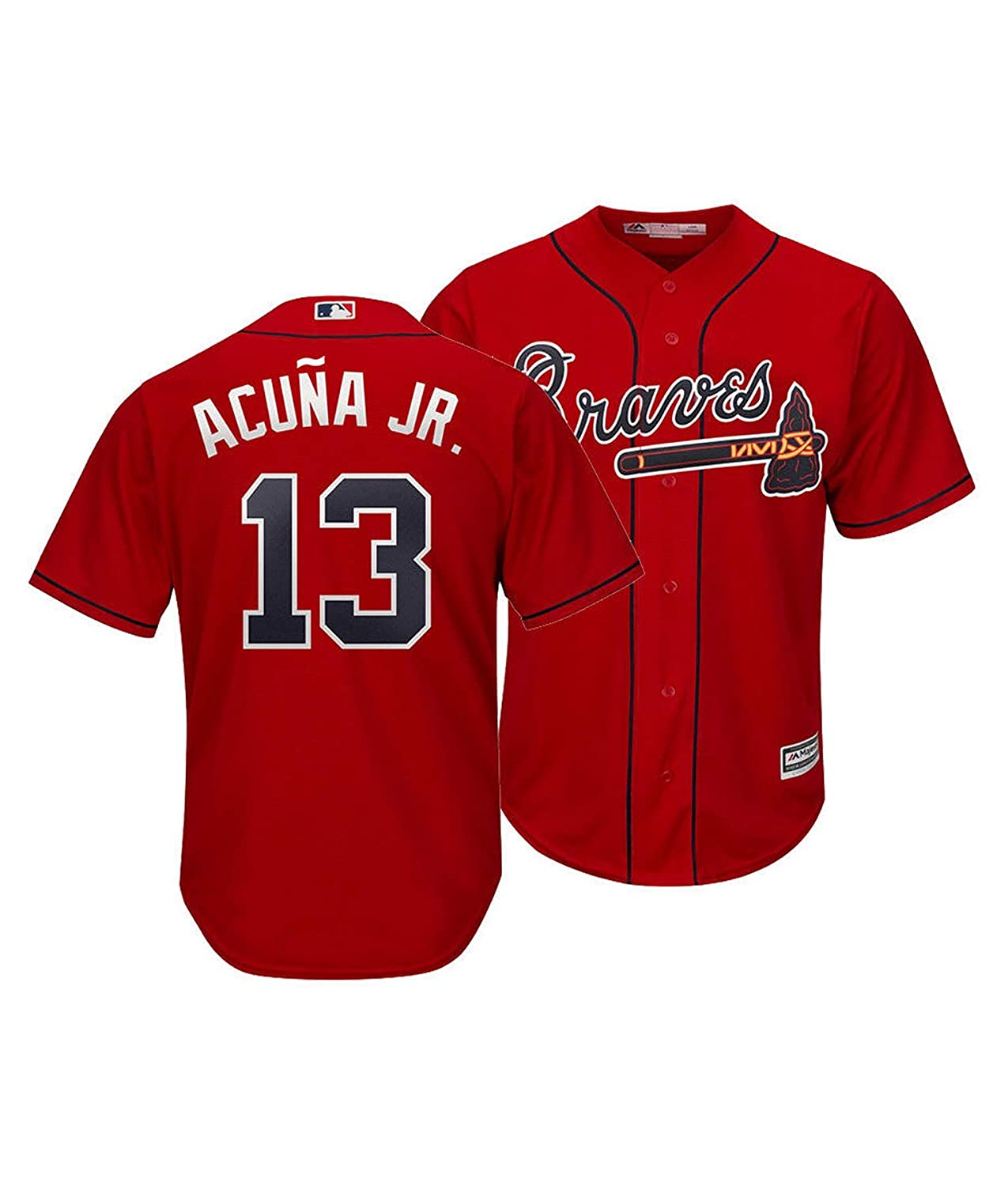 Outerstuff Ronald Acuna Jr Atlanta Braves Kids 4-7 Red Alternate Cool Base Player Jersey