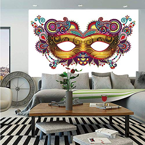 Mardi Gras Huge Photo Wall Mural,Ornate Floral Details on Yellow Eye Mask Traditional Holiday Carnival Festival Decorative,Self-adhesive Large Wallpaper for Home Decor 100x144 inches,Multicolor