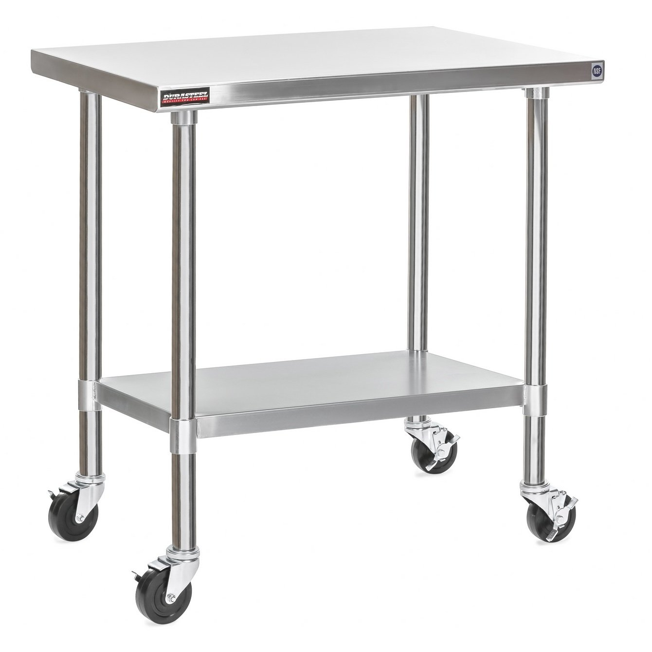 Apex Worktable Stainless Steel Food Prep 24'' X 36'' X 34'' Height With 4 Caster Wheels Work Table- Commercial Grade Work Table - Good For Restaurant, Business, Warehouse, Home, Kitchen, Garage