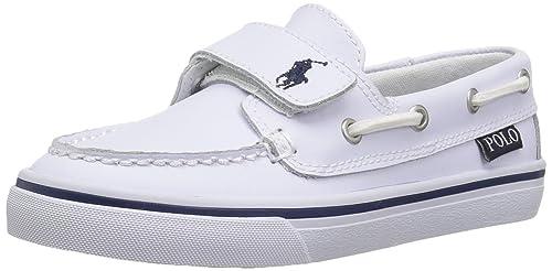 POLO RALPH LAUREN - Mocasín blanco de cuero, con cierre de velcro, correa decorativa blanca, Niño, Niños-28: Amazon.es: Zapatos y complementos