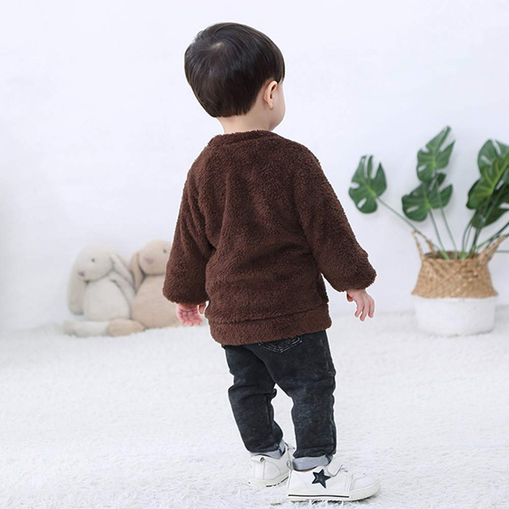 Palarn Baby Clothes Children Boys and Girls Cartoon Small Bear Printed Keep Warm Top Clothes