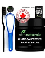 aimnaturals Best Canadian Natural Teeth Whitening Activated Charcoal Powder In Bulk (50g) + High Density Charcoal Toothbrush + Tongue Cleaner + Tips, Tricks, Benefits & Best Use of Activated Charcoal Electronic Book Value Pack (Use it Again & Again)| 100% Pure Food Grade, No Artificial Flavors or Hardwood Used