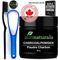 aimnaturals Best Canadian Natural Teeth Whitening Activated Charcoal Powder In Bulk (50g) + High Density Charcoal...