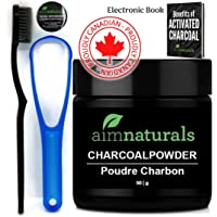 aimnaturals Best Canadian Natural Teeth Whitening Activated Charcoal Powder In Bulk (50g) + High Density Charcoal Toothbrush + Tongue Cleaner + Benefits of Activated Charcoal Electronic Book Value Pack (6 Months Supply)| 100% Pure Food Grade, No Artificial Flavors or Hardwood Used