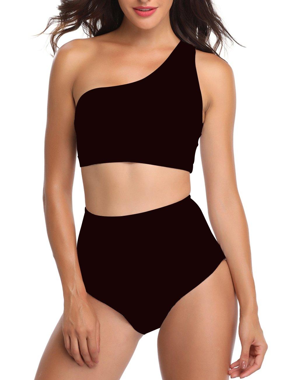 Women Padded Stripe Bikini Set One Shoulder 2 Piece Swimwear (S, Black)