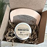 Beard Oil Beard Comb Set Beard Butter Fathers Day Gift Handmade in Maine with Organic Oils