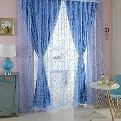 Vizmaya Creations Circle Pattern Room Voile Door/French Window Fashion Curtain Sheer Drape Scarf Blue Curtain