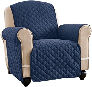 Reversible Spill Resistant Quilted Furniture Protector Cover with Ties - Covers Seat Bottom, Seat Back and 2 Seat Arms, Navy/Blue, Chair
