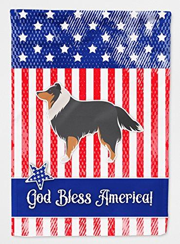 (Caroline's Treasures BB3330GF Garden Size USA Patriotic Sheltie/Shetland Sheepdog Flag, Multicolor, Small)