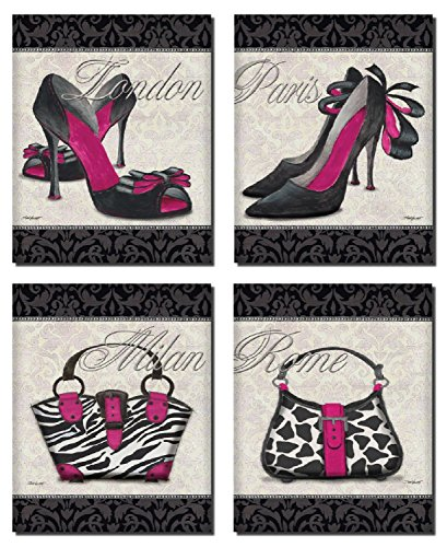 Classy Shoes and Purse Set by Todd Williamss, 8 x 10 set of 4; Mounted Prints Ready to hang on your wall!