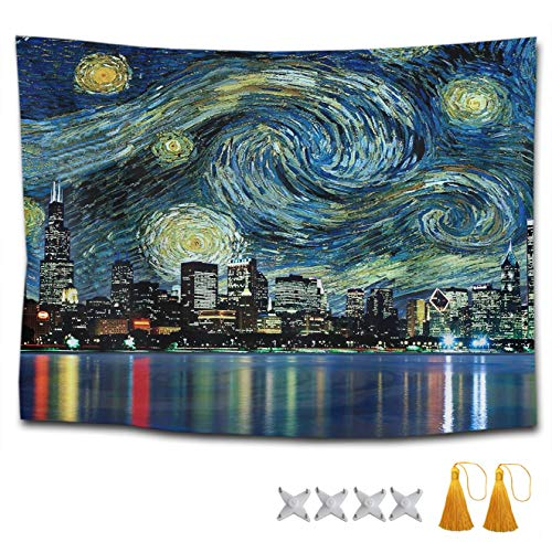 SWEET TANG Tapestry Mandala Tapestry Wall Hanging Tapestries Chicago City Skyline Night View Starry Sky Wall Blanket Wall Decor Wall Art Home Decor Collage Dorm Decoration 60 x 70 Inches Gifts