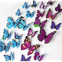 ElecMotive 24 Pcs 2 Packs Beautiful 3D Butterfly Wall Decals DIY Home Decorations Art Decor Wall Stickers & Murals for Babys Bedroom TV Background Living Room (Pack of 2 Color) (12 Blue+12 Purple)
