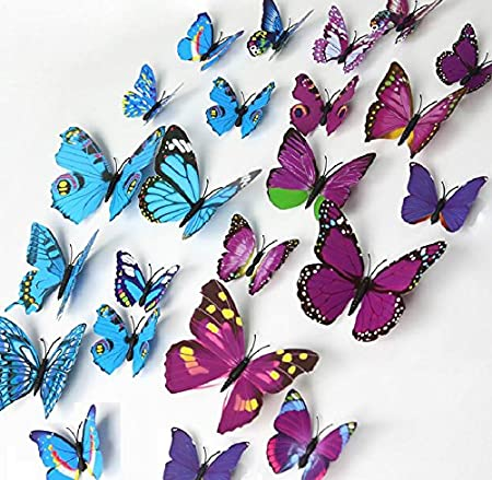 ElecMotive 24 Pcs 2 Packs Beautiful 3D Butterfly Wall Decals Removable DIY  Home Decorations Art Decor