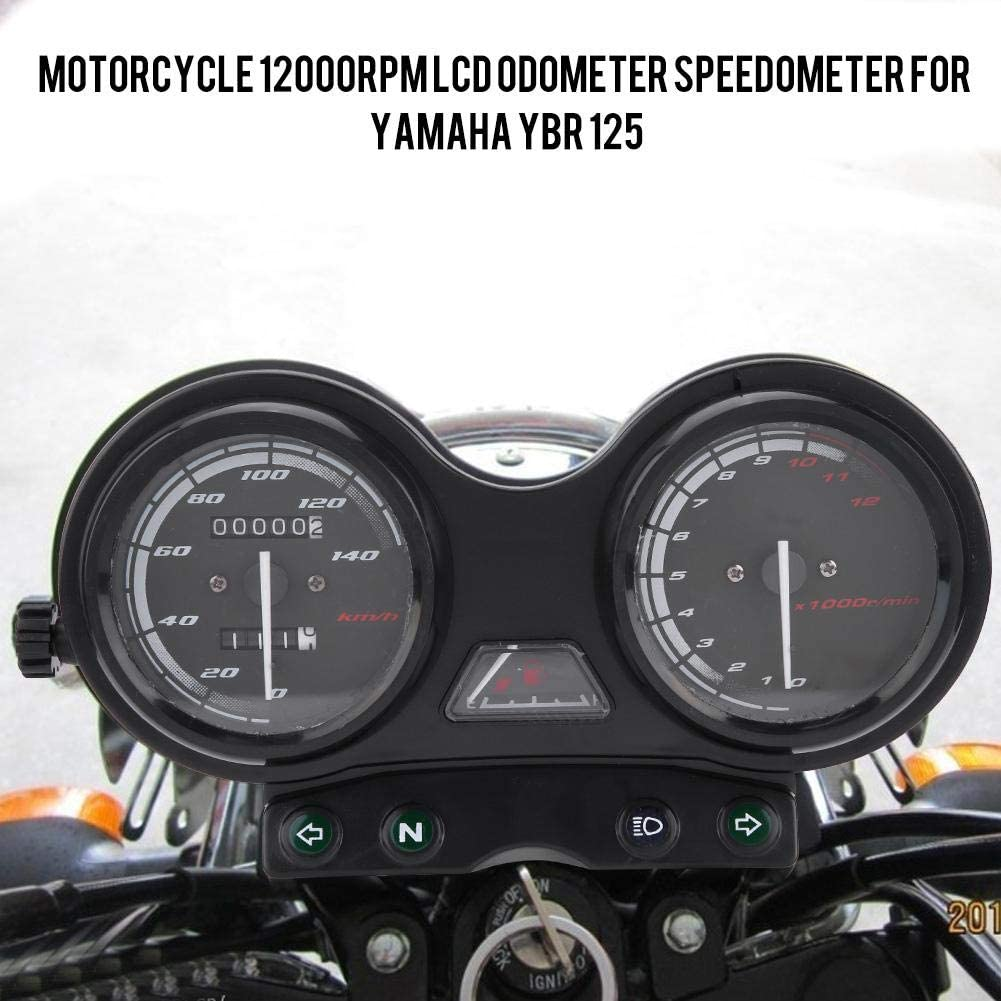 Terisass DC 12 V Motorrad Kilometerz/ähler Drehzahlmesser Ge/ändert Zubeh/ör 12000 RPM LCD MPH//KMH Digital Kilometerz/ähler Fit f/ür Yamaha YBR 125