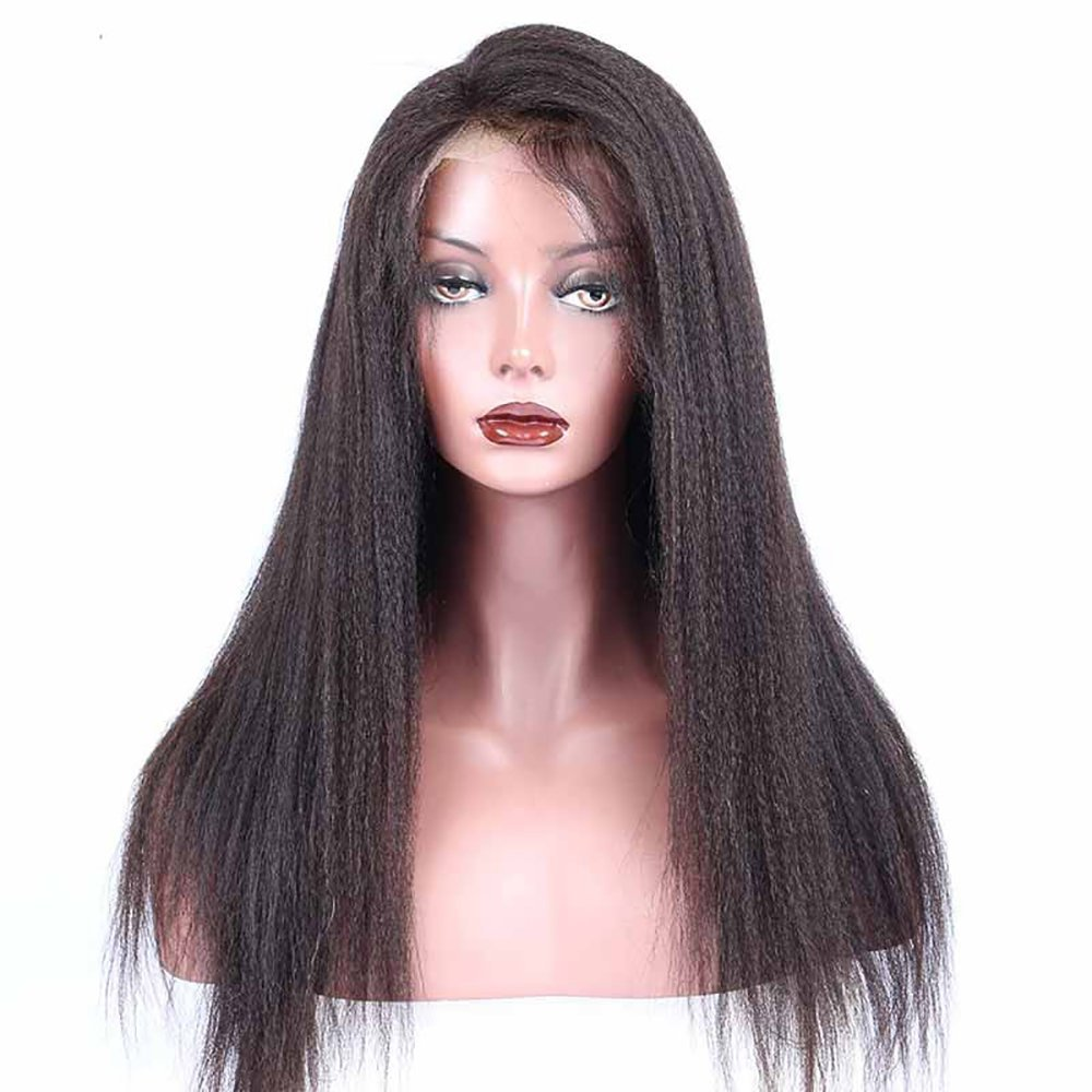 Amazon.com   NEWFEIBIN Lace Front Wigs For Black Women Yaki Straight  Brazilian Remy Synthetic Hair Wigs 200% Density Natural Color 24 inch    Beauty 443917285