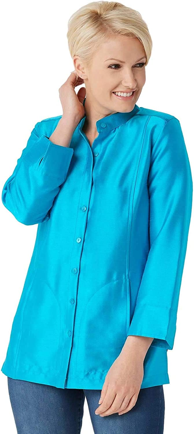 Linea by Louis Dell'Olio Womens Shantung Band Collar Jacket 8 Turquoise A351115