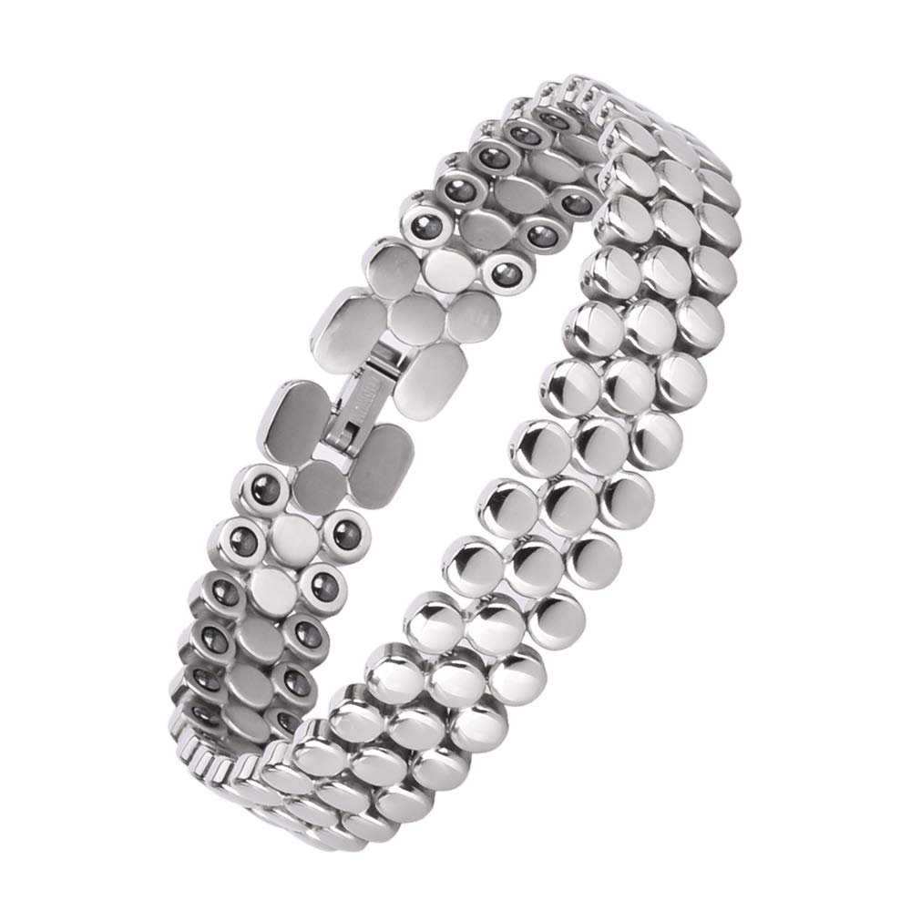 Titanium Magnetic Bracelet,Magnetic Therapy Bracelets for Women Pain Relief Arthritis Bracelet for Women with Hematite Element(Silver)