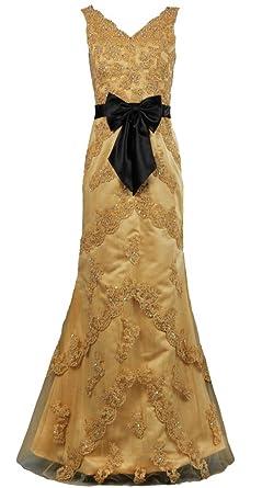 ANTS Womens V-Neck Prom Dresses With Black Sash - Yellow -