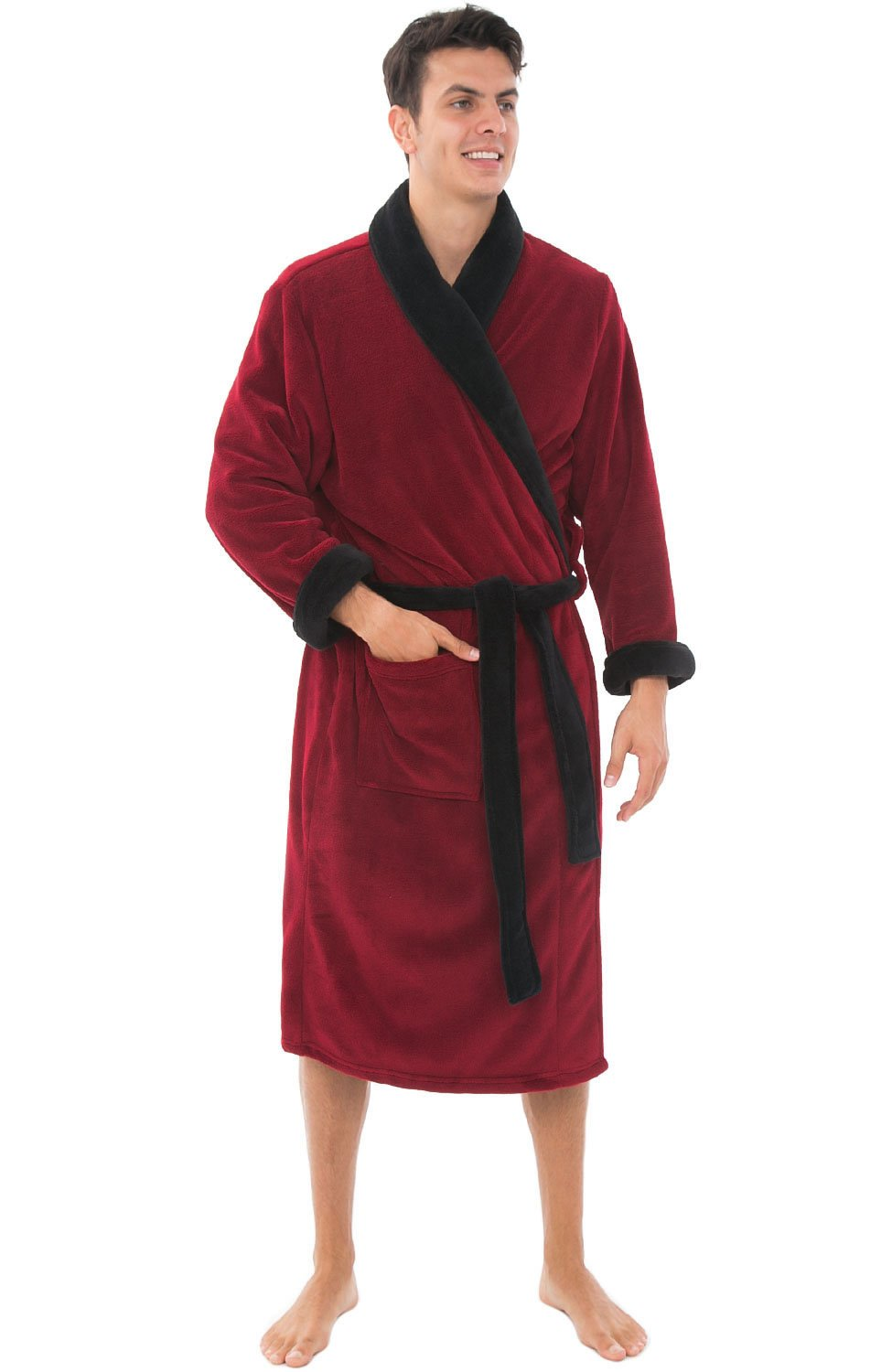 Alexander Del Rossa Mens Fleece Robe, Shawl Collar Bathrobe, Large XL Burgundy with Black Contrast (A0114BRBXL)
