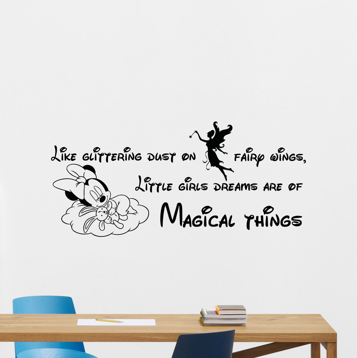 Amazon.com: Wall Decal Quote Like Glittering Dust On Fairy Wings Little  Girls Dreams Are Of Magical Things Girl Kids Fairy Minnie Mouse Cartoons  Vinyl ... Part 98