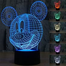3D Mickey Mouse LED Night Light Touch Table Desk Lamp for Kids Gift, Elstey 7 Colors 3D Optical Illusion Lights with Acrylic Flat & ABS Base & USB Charger