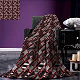 Red and Black Custom blanket Geometric Rectangle Frames Retro Patterns Polka Dots and Houndstooth all weather blanket Black White Scarlet size:60''x80''