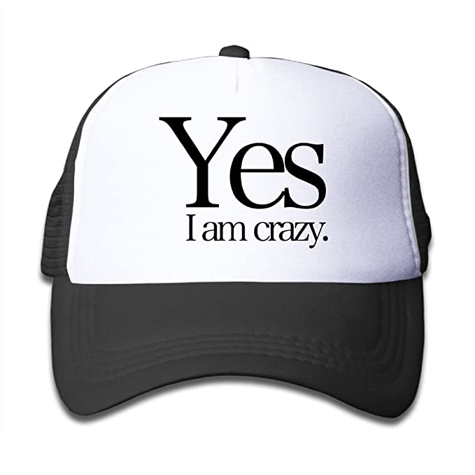 7c463634181 Graphic Yes I Am Crazy Kids Adjustable Mesh Hats For Boys Girls children  Cotton Hip Hop Trucker Baseball Caps Snapback at Amazon Men s Clothing  store