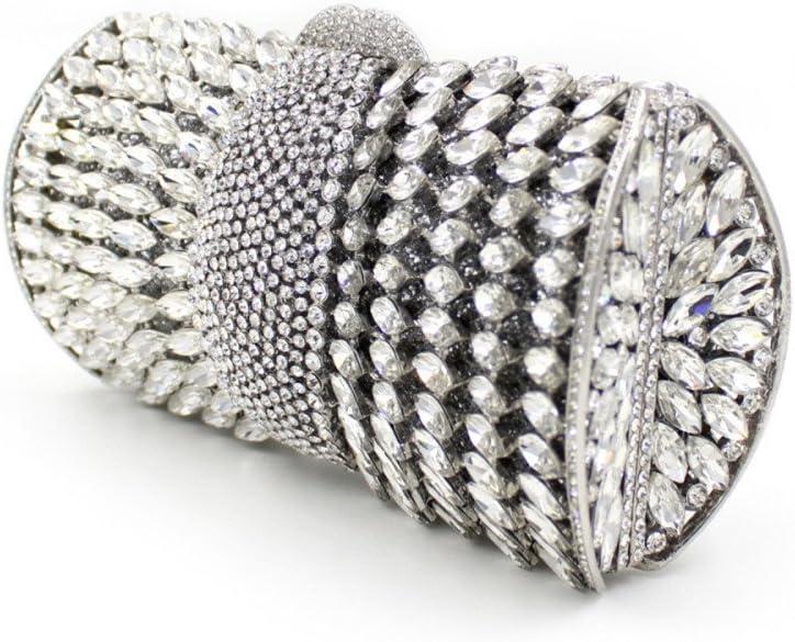 Yuqianqian Pochette de Soirée pour Femme Femmes de Haute qualité de Strass Sac de soirée mariée Mariage Pochette Sac Banquet cosmétique Sac (Color : Silver) Silver