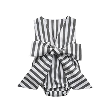 673d2e77661a Amazon.com  Toraway- Toddler Infant Romper Jumpsuit Summer Newborn Baby  Girls Striped Bow Sleeveless Sunsuit Clothes Outfit  Clothing