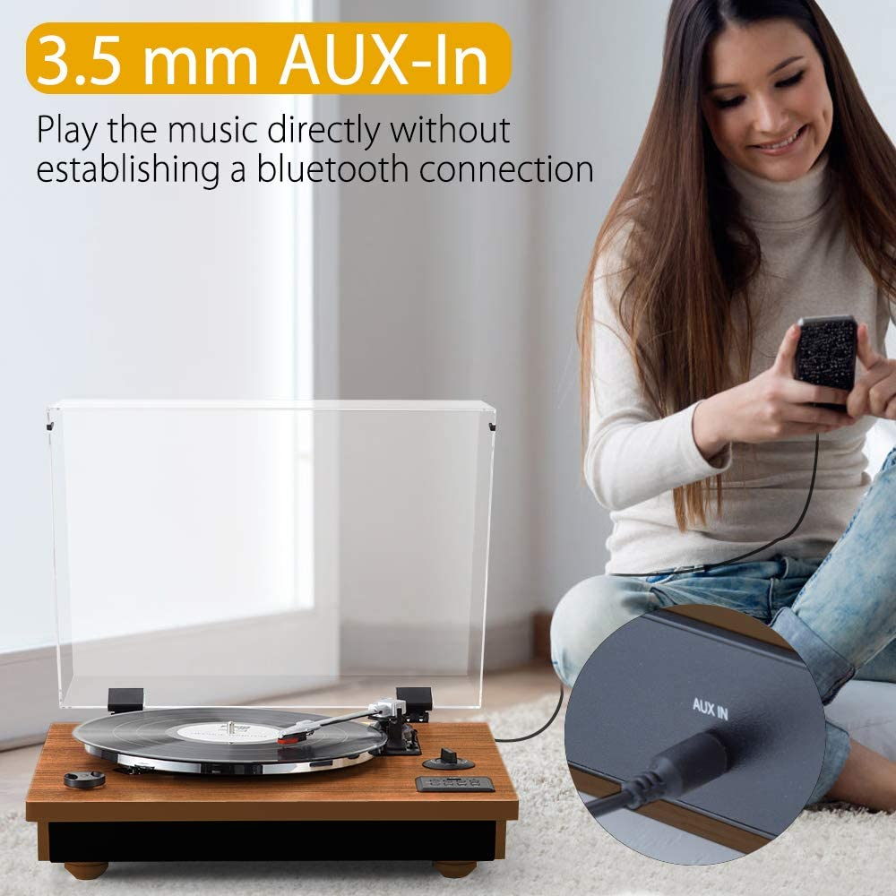RCA Output MC-262T//T Brown USB Rcm Wireless 3-Speed Turntable with Stereo Speakers Natural Wood Vinyl Record Player Vinyl to MP3 Recording Belt-Drive