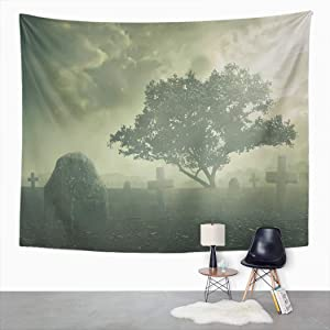 Suklly Tapestry Wall Hanging Halloween Concept Spooky Graveyard Scene Complete Home Decor Polyester Living Bedroom Dorm 50 X 60 Inches Picnic Mat Beach Towel Bed Cover