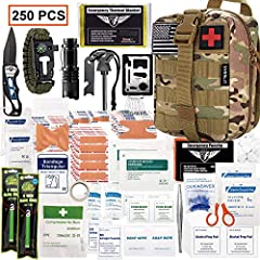 WHY CHOOSE EVERLIT SURVIVAL FIRST AID KIT? -A truly MUST-HAVE EDC First Aid Survival Kit that customized by U.S Military veterans and field tested by ex-Army Sergent. -Comprehensive and Multi-Purpose: Essential medical supplies and survival g...